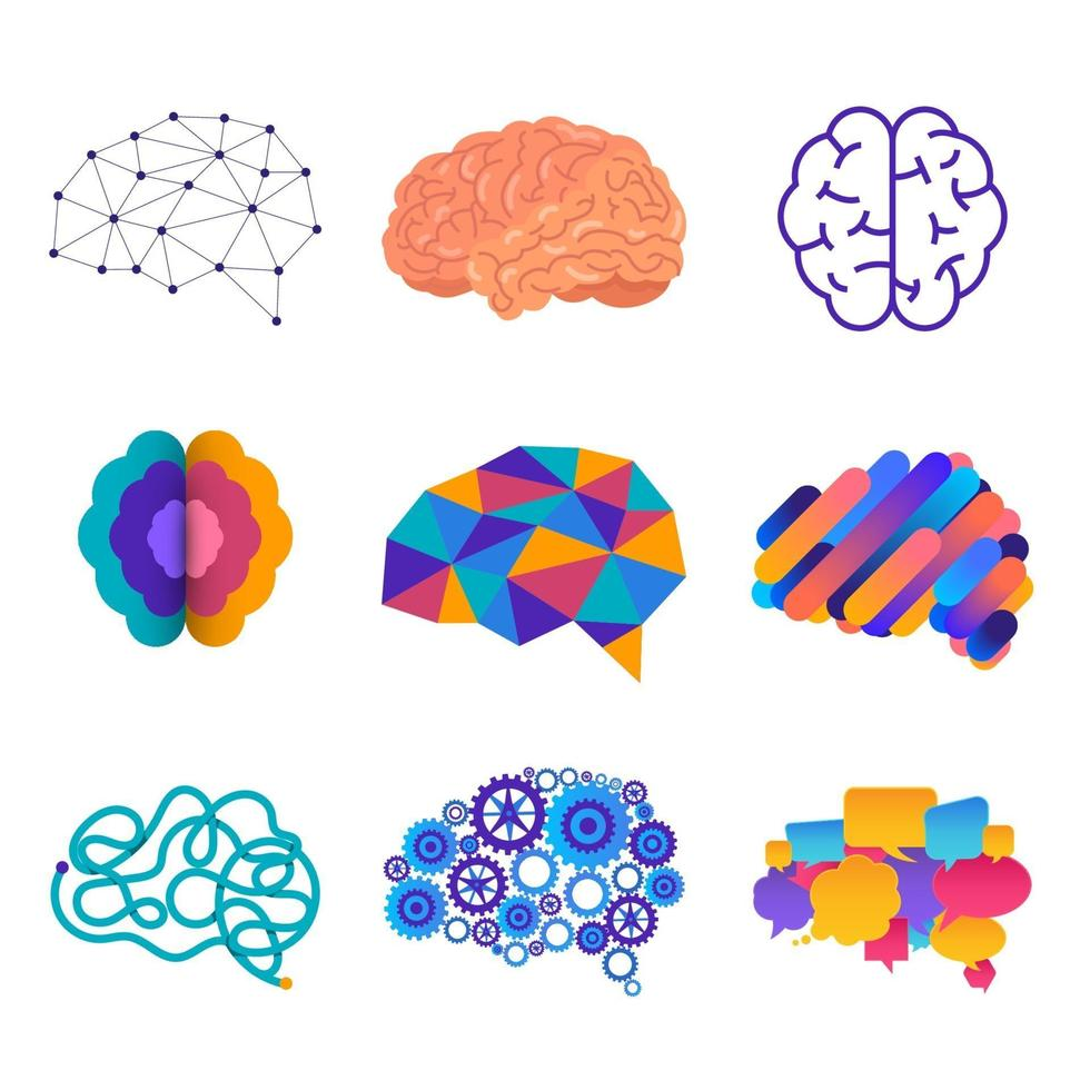 Set of human brains in different graphic styles vector
