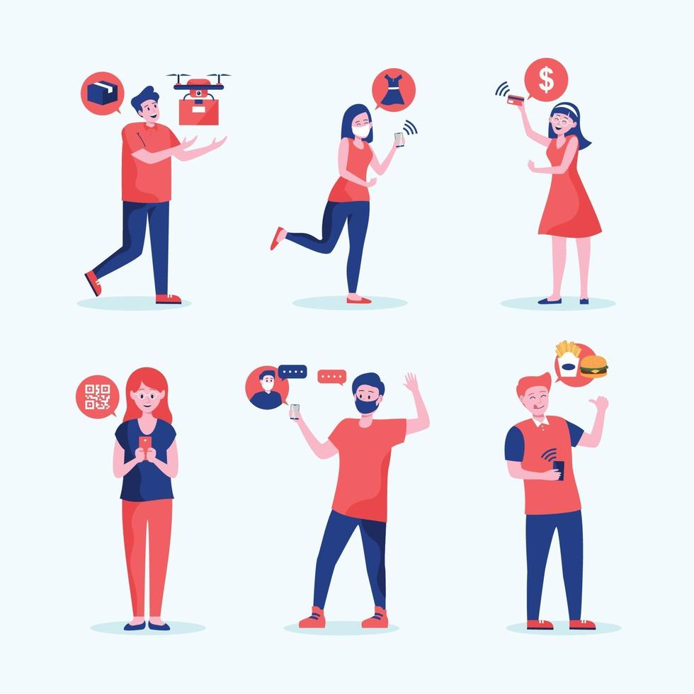 People in  Different Contactless Activity Collection vector