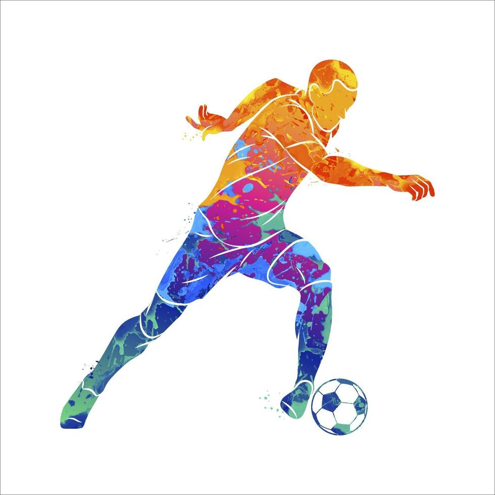 Abstract soccer player running with the ball from splash of watercolors. Vector illustration of paints