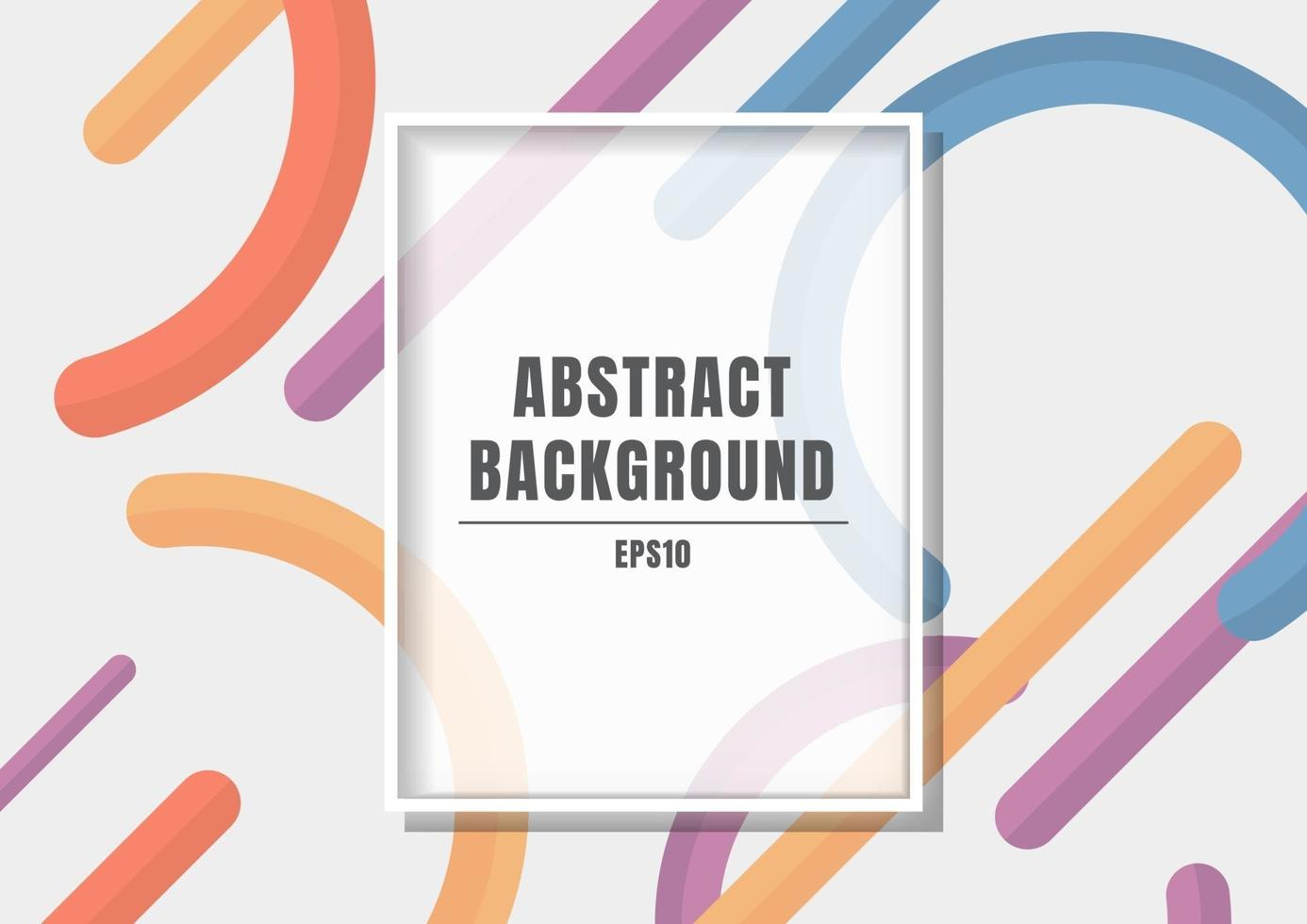 Rectangle white frame on blue, orange, purple, yellow color geometric circle and rounded line abstract background. vector