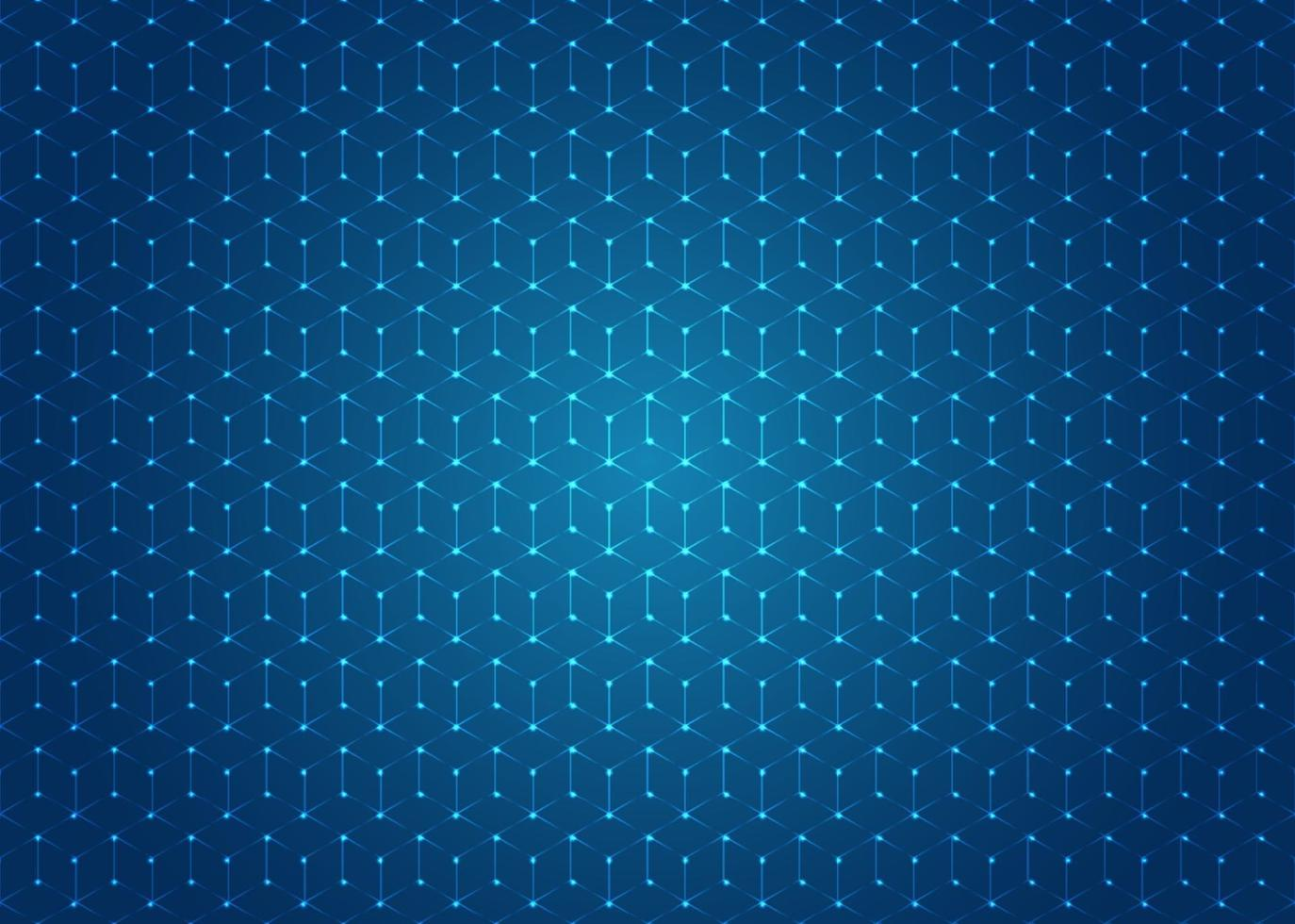 Abstract geometric hexagons shapes seamless pattern with illuminated dot on blue background. vector