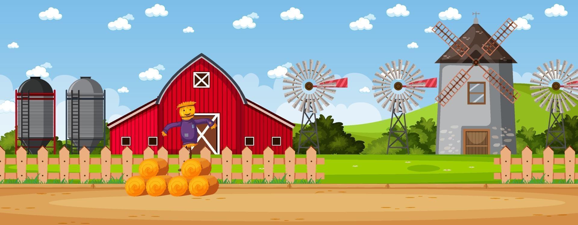 Simple rural farm landscape vector