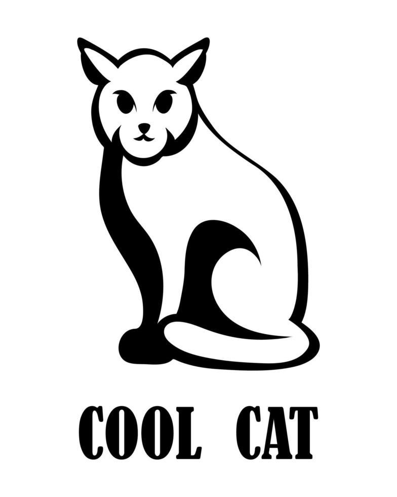 Black logo vector of a cat eps 10