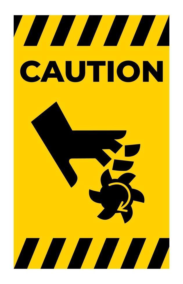 Precaución corte de los dedos símbolo de la hoja giratoria signo sobre fondo blanco vector