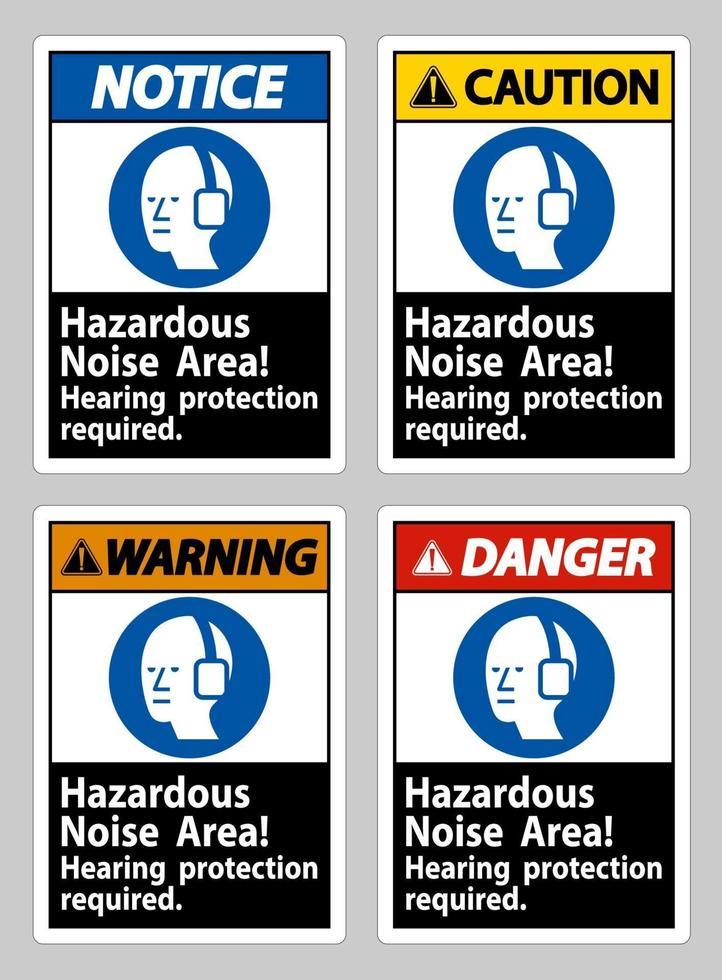 zona de ruido peligroso, se requiere protección auditiva vector