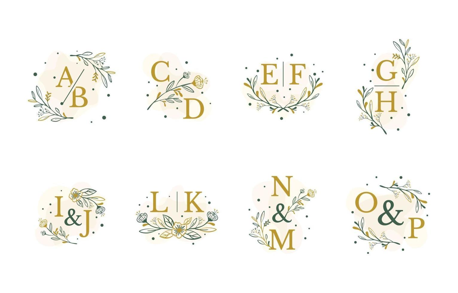 Wedding Initial Monogram floral and leaves Template. vector
