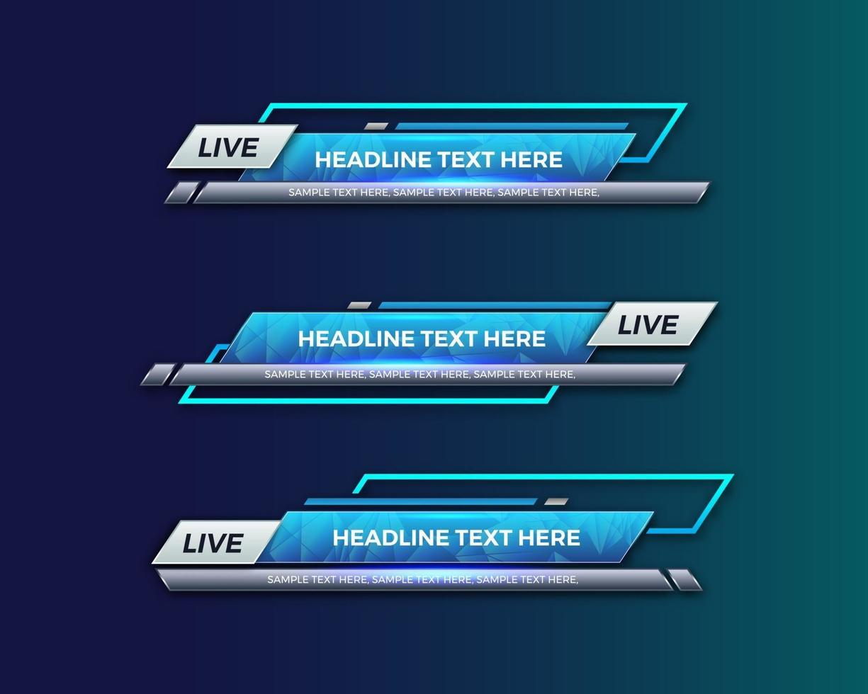 modern geometric lower third banner template design for broadcasting, live, streaming, video template. Vector Illustration