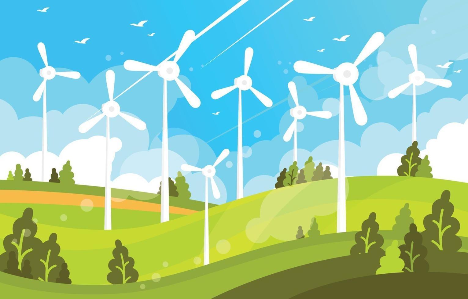 Green Technology Windmill Landscape vector