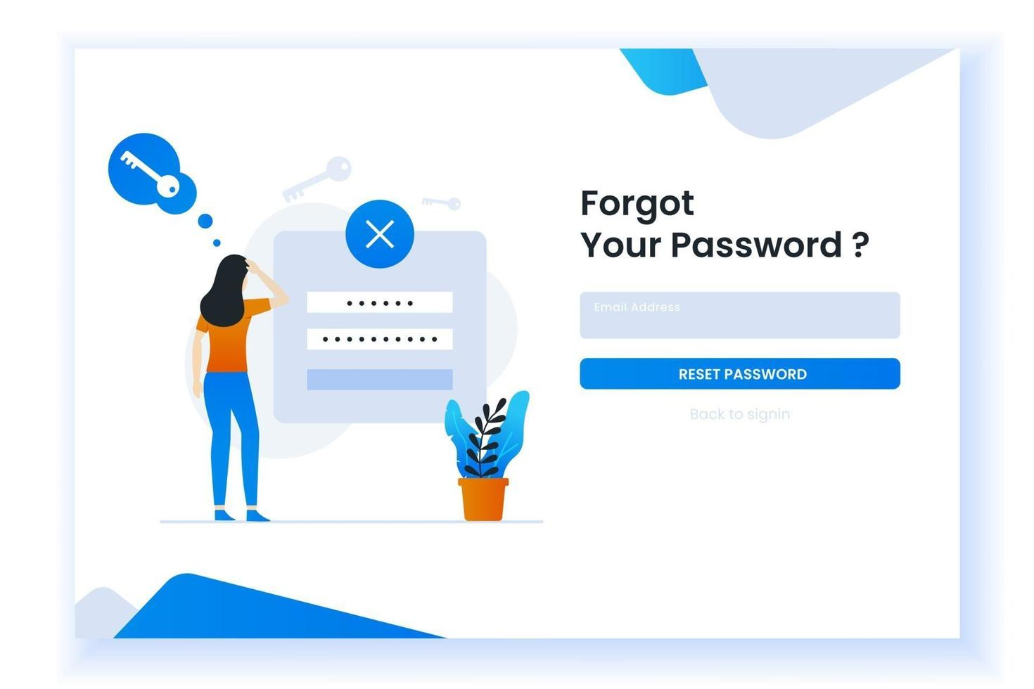 confused woman forgetting her password illustration for web page vector