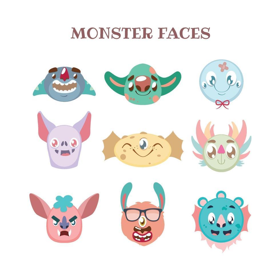Set of colorful diverse monster portraits vector