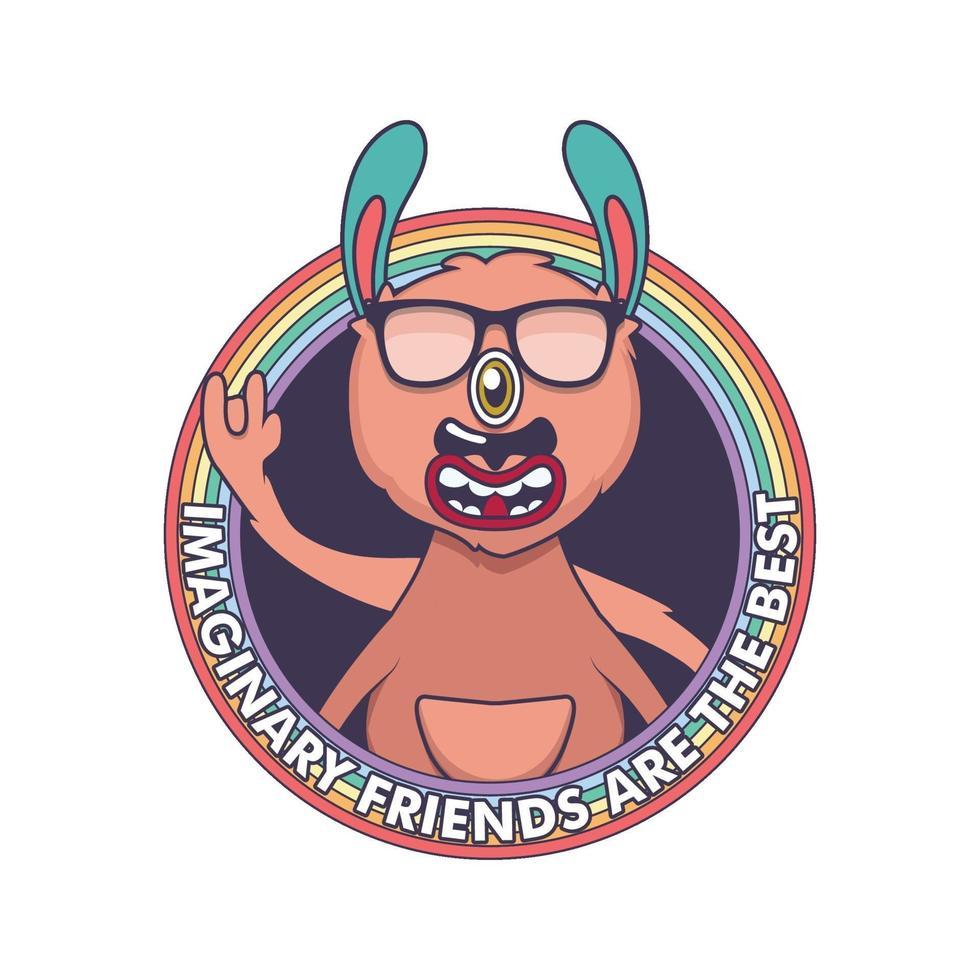 Badge with happy cartoon monster vector