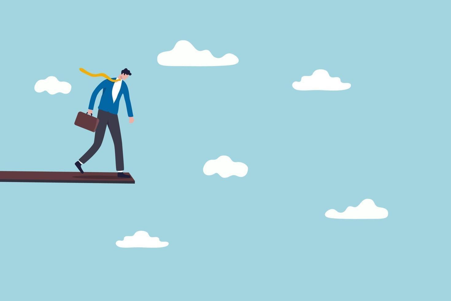inversión o riesgo financiero de caer de la recesión económica, miedo a perder dinero o concepto de amortización de la deuda, empresario de pie en alto salto de madera en el cielo mirando hacia abajo con miedo a la altura. vector