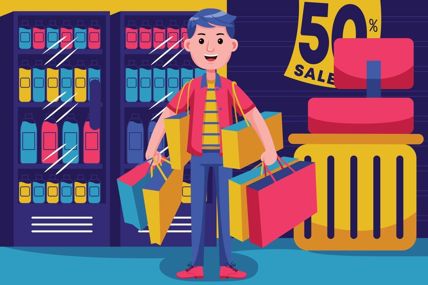 Happy young man shopping at the supermarket vector