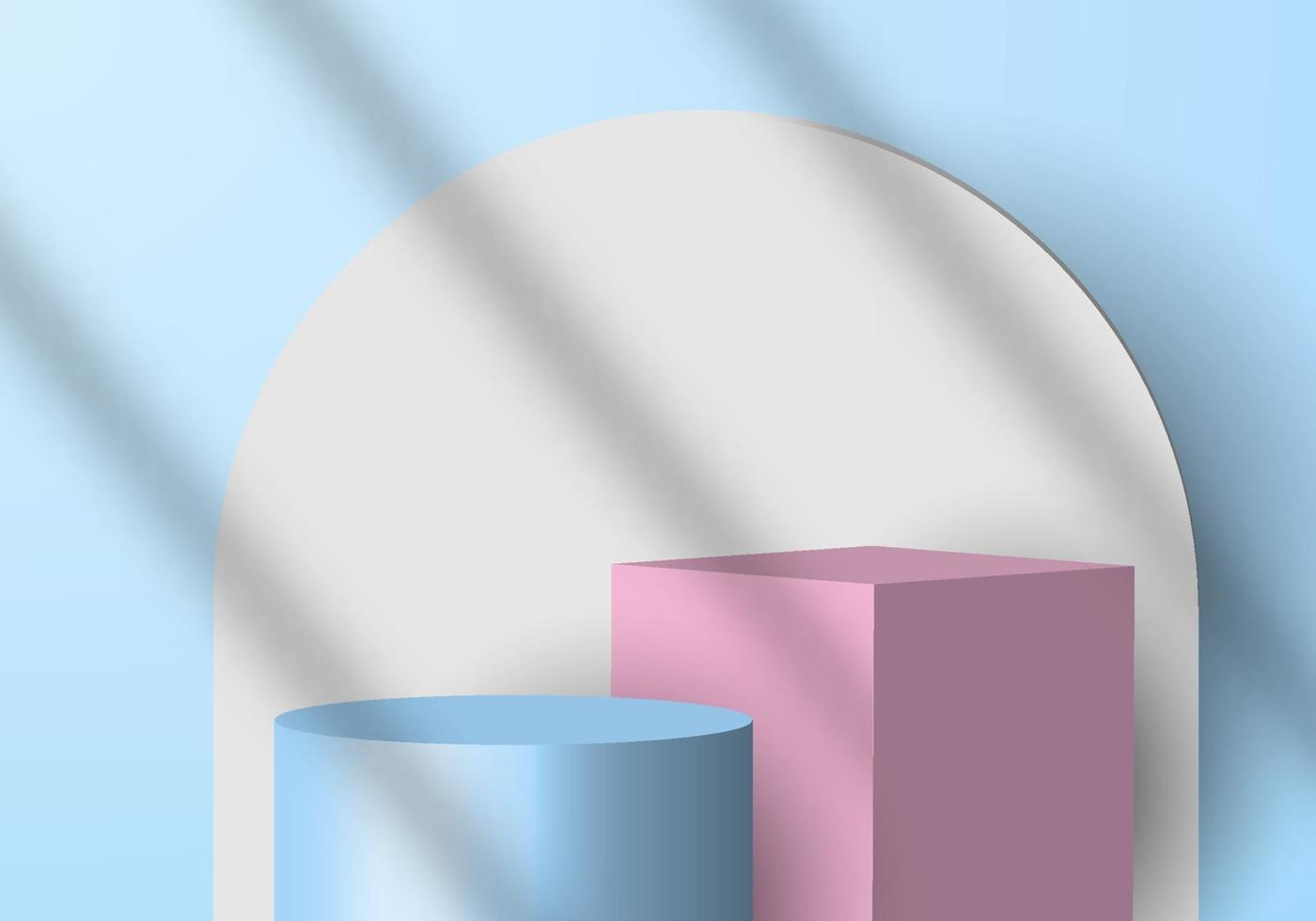 3D minimal scene background blue cylinder and pink cube, white circle backdrop with shadow. vector