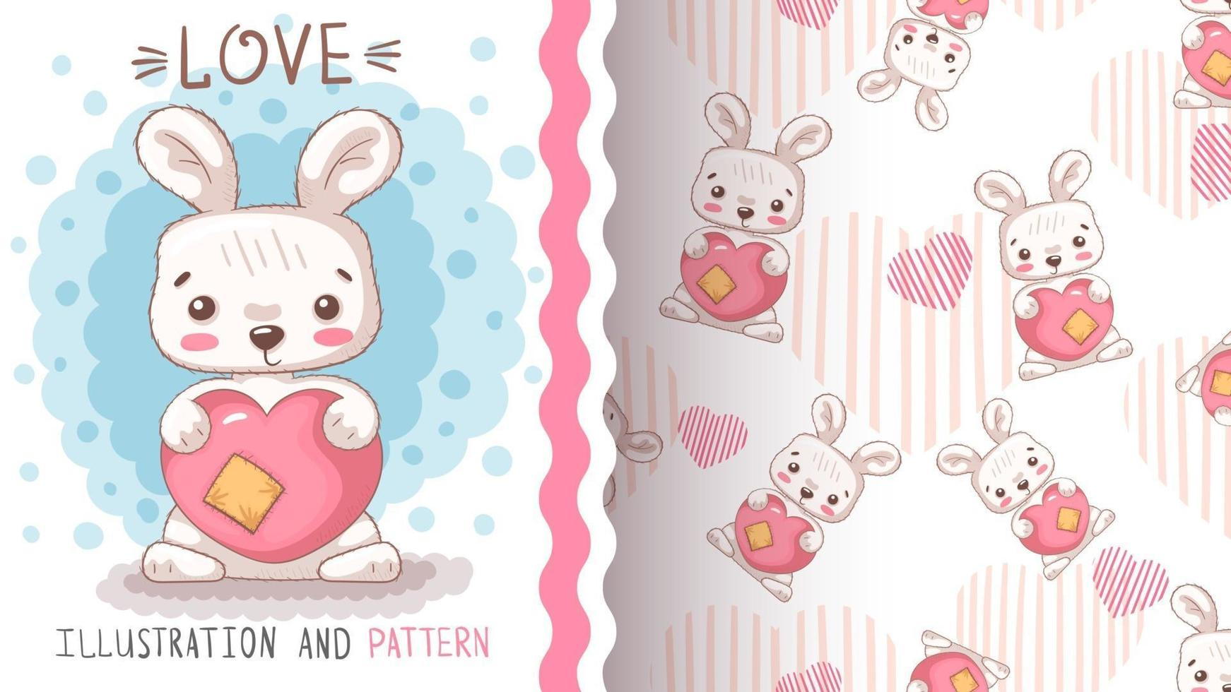 Cute cartoon character animal rabbit with heart vector