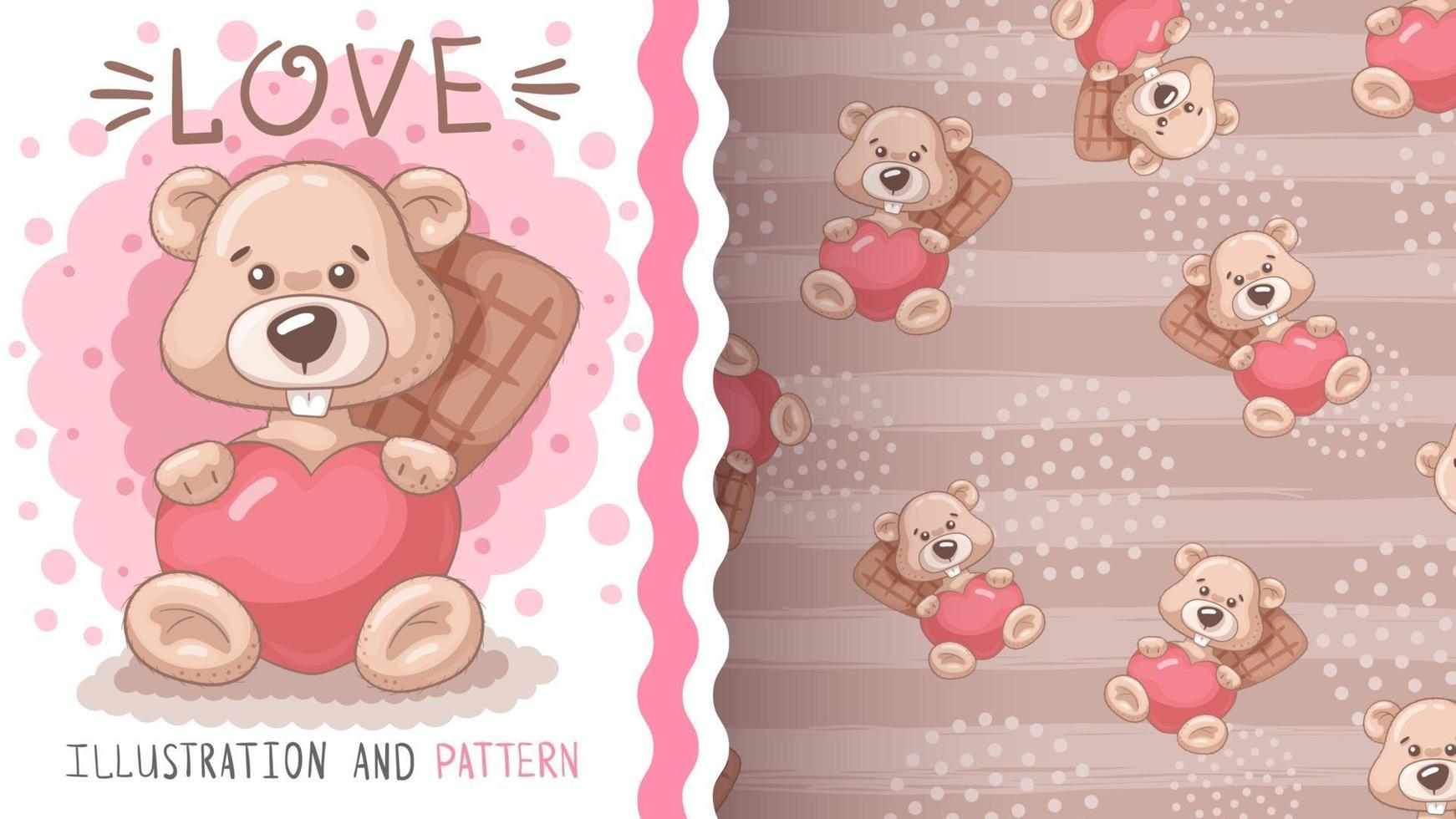 Pretty cartoon character animal beaver with heart vector