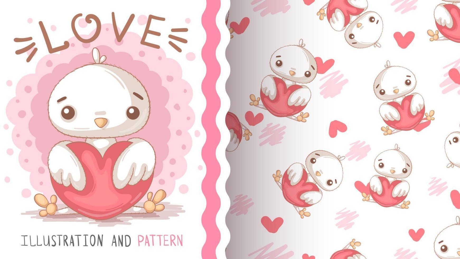 Childish cartoon character animal bird chick with heart vector