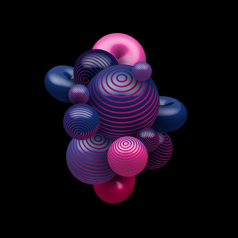 Bolas realistas decorativas de color degradado azul y rosa abstracto 3d que vuelan al azar sobre fondo negro vector