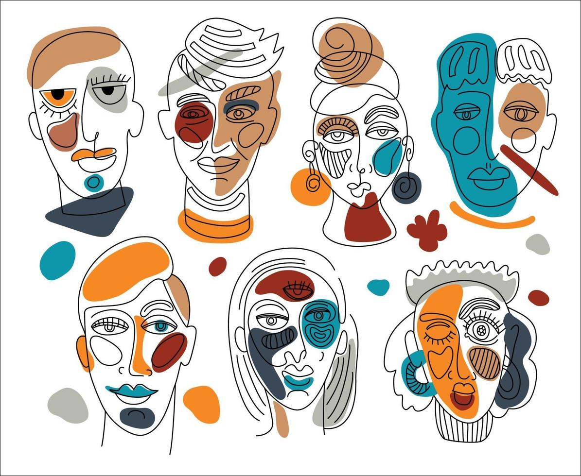 Modern abstract faces. Contemporary female man silhouettes. Hand drawn outline trendy illustration. Continuous line, minimalistic concept. vector