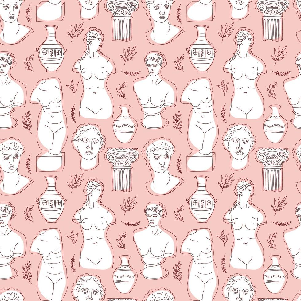 Ancient Greece and Rome set tradition and culture vector seamless pattern. The linear trend of the ancient surface pattern, Ancient Greece and Ancient Rome. Surface pattern on pink.