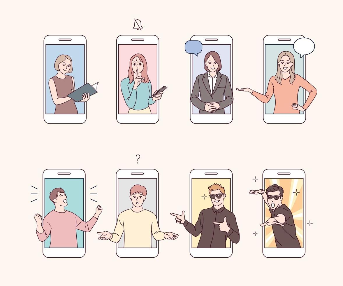 The characters on the mobile phone screen make various gestures. vector