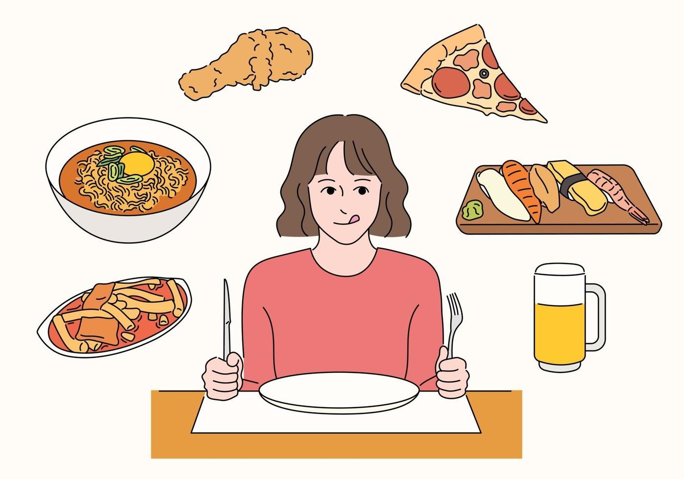 A girl is sitting in a restaurant and thinking about the menu. vector