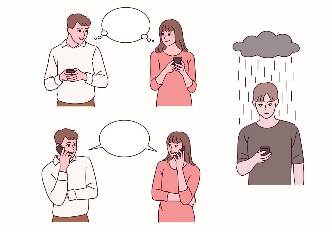 una pareja está pensando y hablando con un teléfono celular en la mano. otro hombre está esperando una llamada. vector