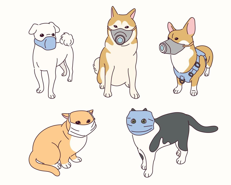 los animales lindos llevan máscaras. vector