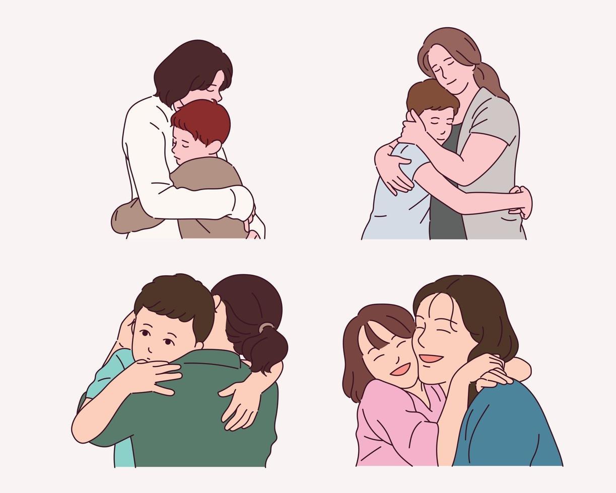Families who warmly hug each other. vector