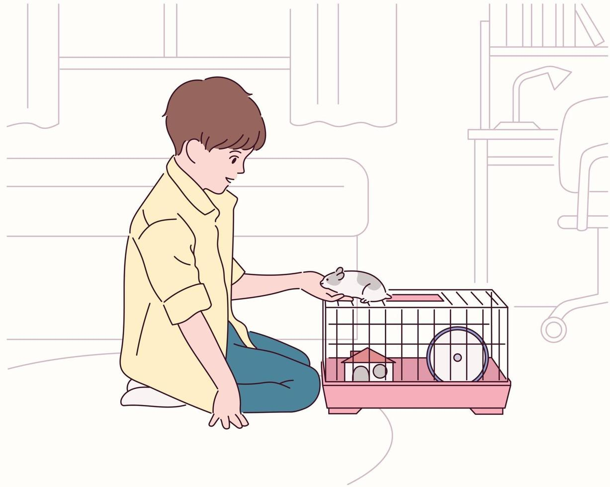 A boy is raising a hamster in his room. vector