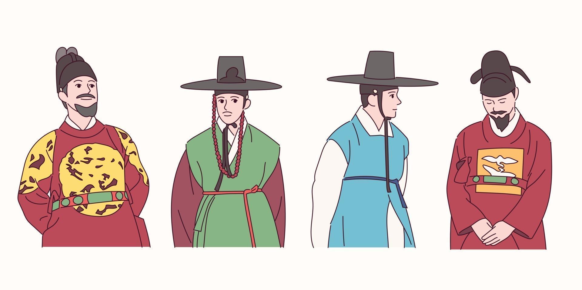 Men in traditional Korean clothes. vector