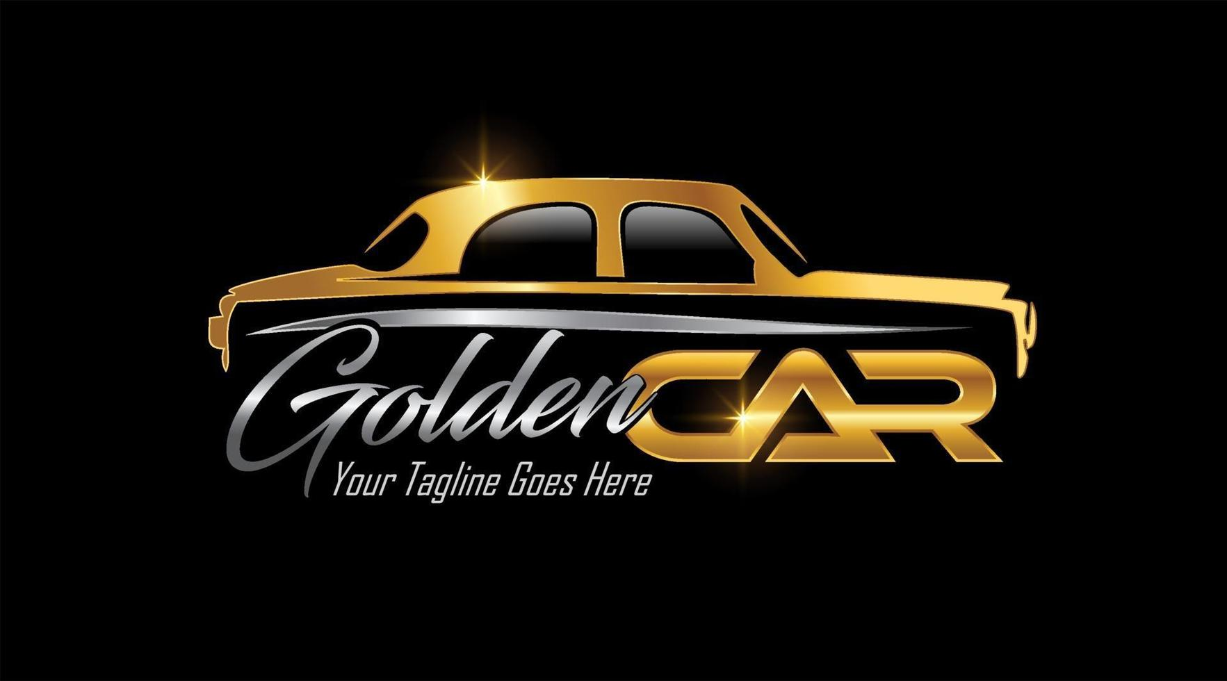 logotipo de vehículo de coche clásico dorado vector
