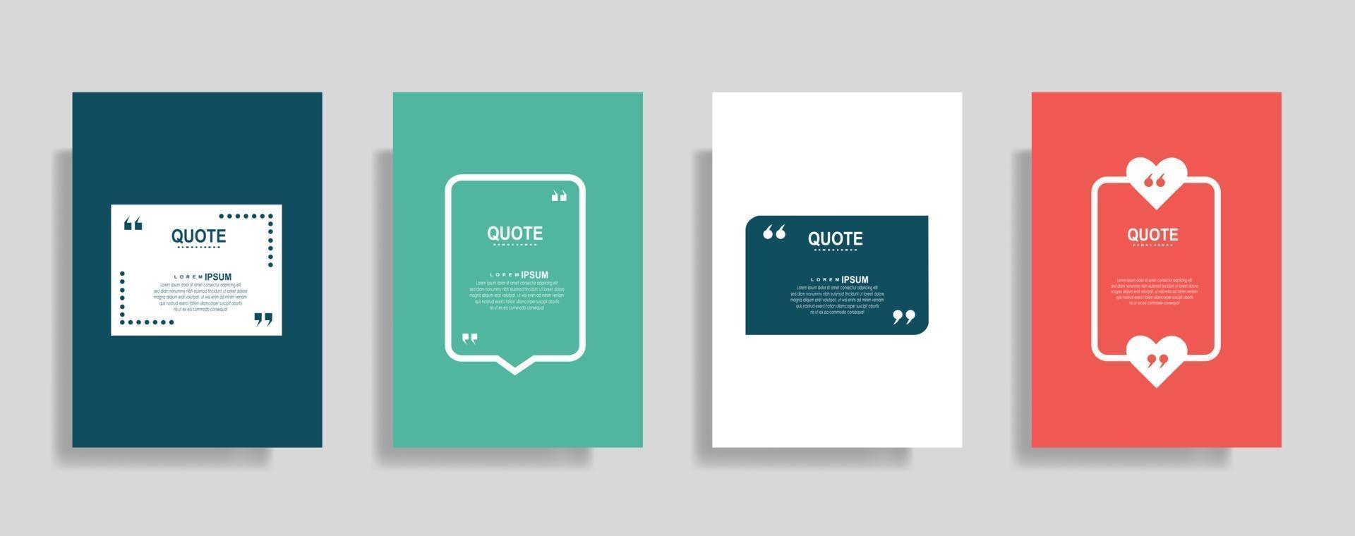 cotizaciones marco conjunto de plantillas en blanco. texto entre paréntesis, cita burbujas de discurso vacías. cuadro de texto aislado sobre fondo de color vector