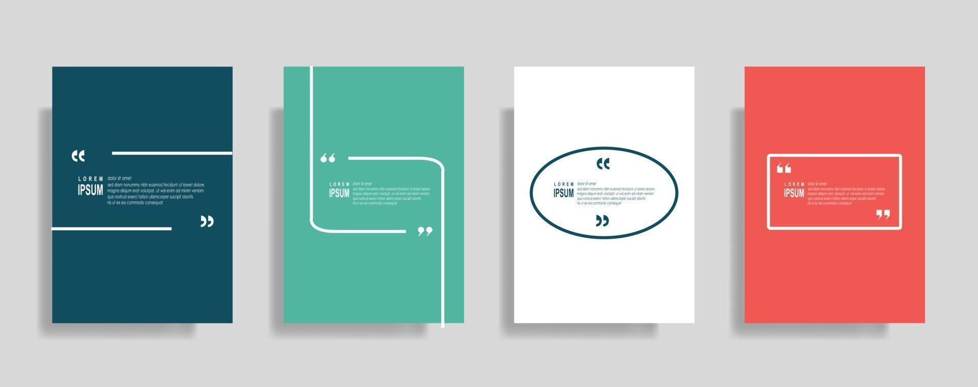 cotizaciones marco conjunto de plantillas en blanco. texto entre paréntesis, cita burbujas de discurso vacías. cuadro de texto aislado sobre fondo de color. vector