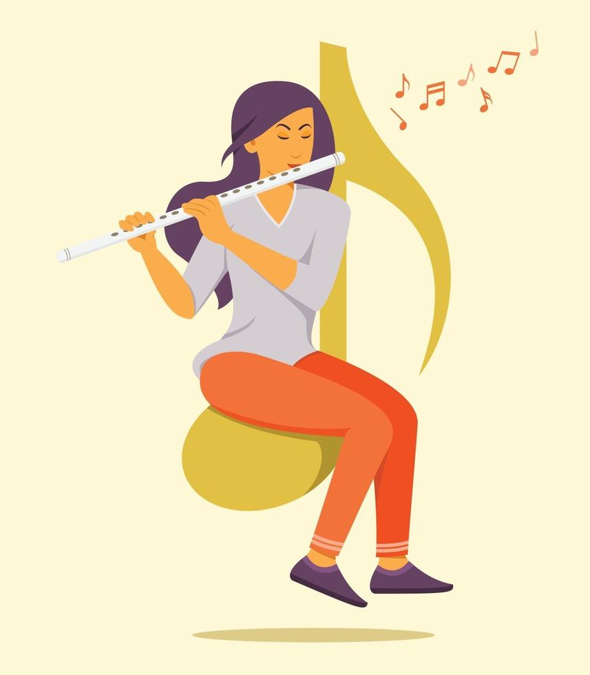 Woman Sit on the Big Music Note Symbol and Enjoys Playing Flute. vector