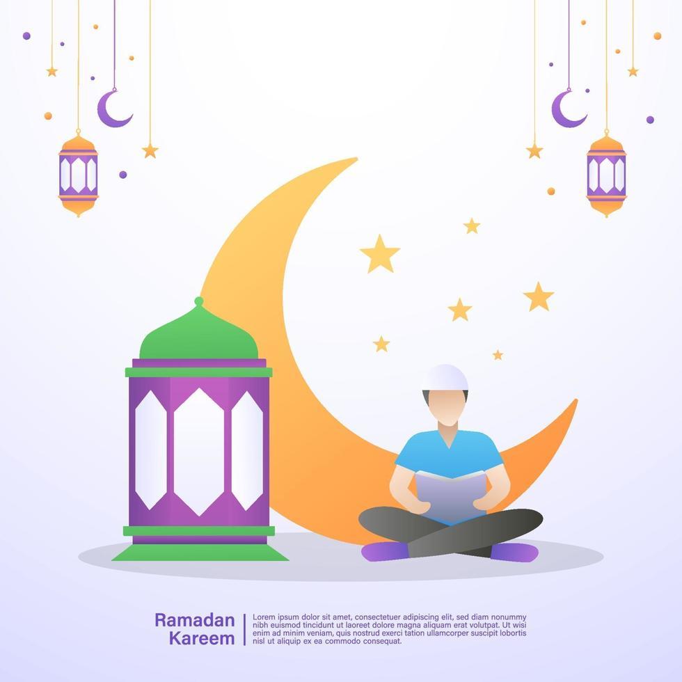 Muslim man reads the Quran in the month of Ramadan. Illustration concept of ramadan kareem vector