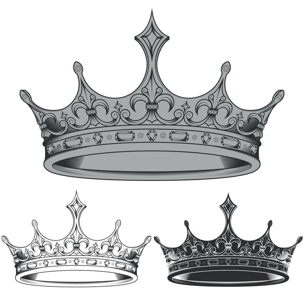 diseño vectorial de siluetas de corona real en blanco y negro vector