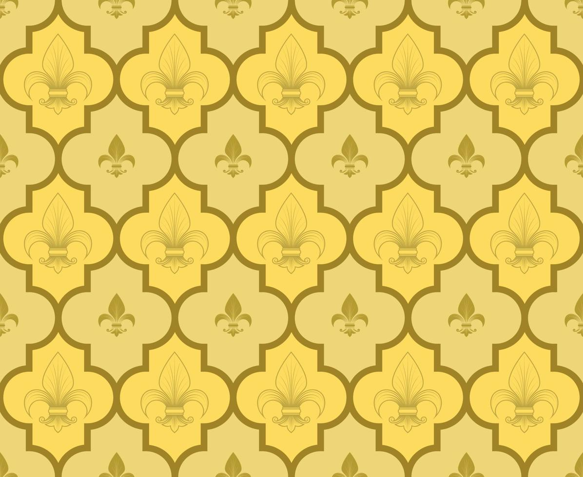 Vector design of geometric pattern with lily flowers, symbol used in medieval heraldry.