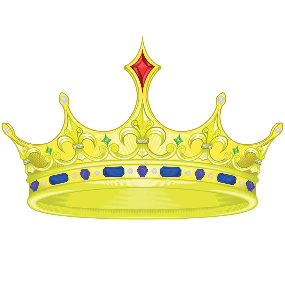 Vector design of golden royal crown with diamonds and gems