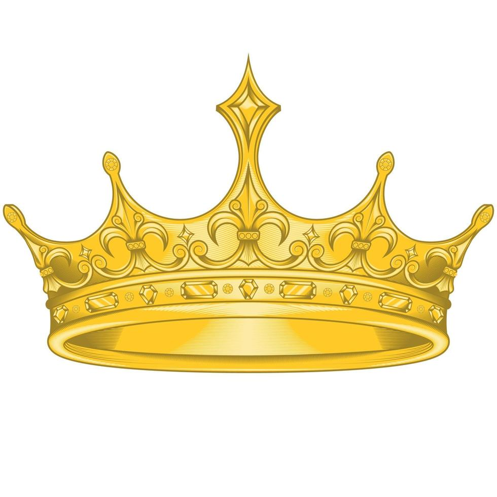 diseño de vector de corona dorada, con flor de liz real