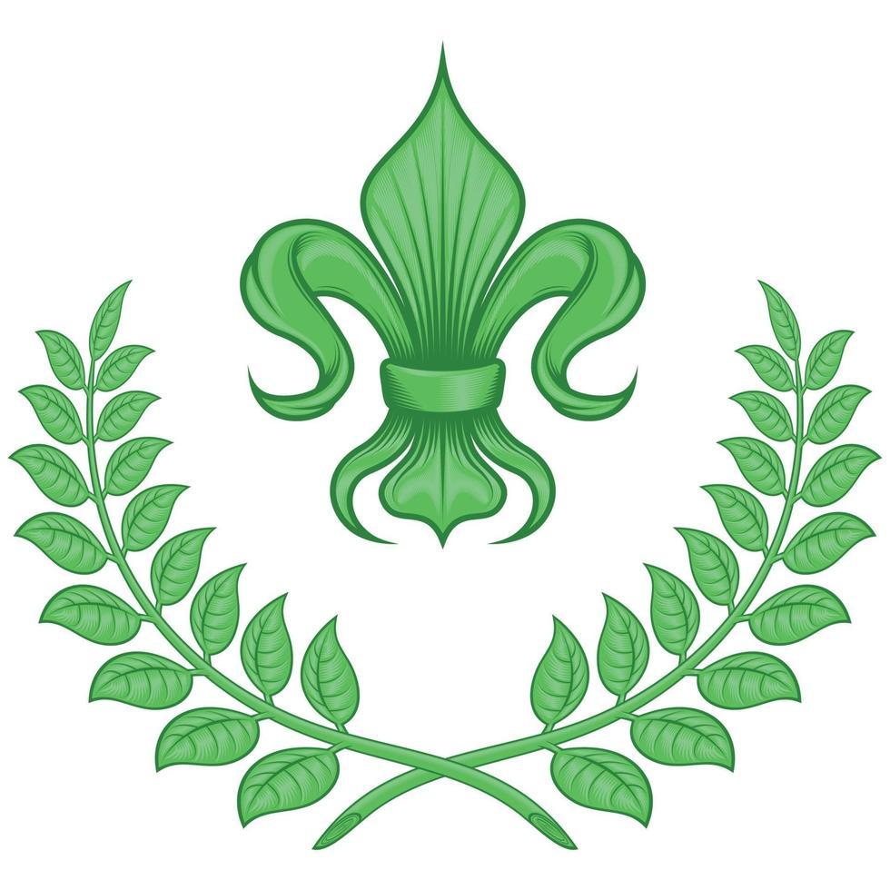 Vector design of liz flower with laurel wreath, symbol used in medieval heraldry.