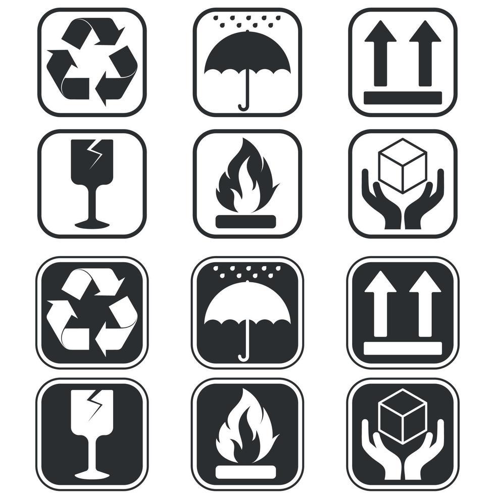 diseño vectorial de símbolos de embalaje de caja de cartón, dos estilos diferentes vector