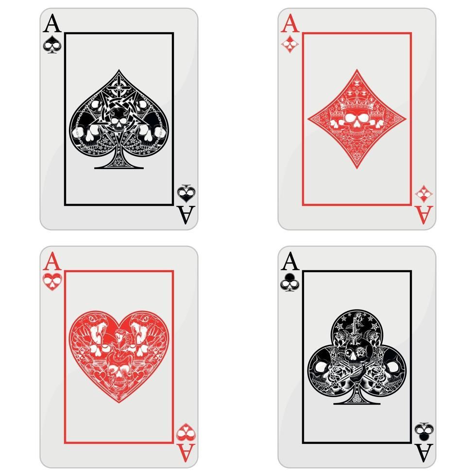design of poker cards with skulls, the symbols of heart, diamond, clover and ace with different line styles. vector