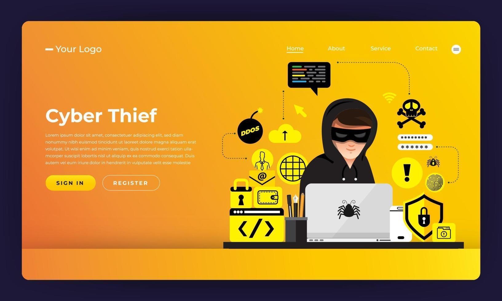 Cyber hacker stealing data on internet device vector