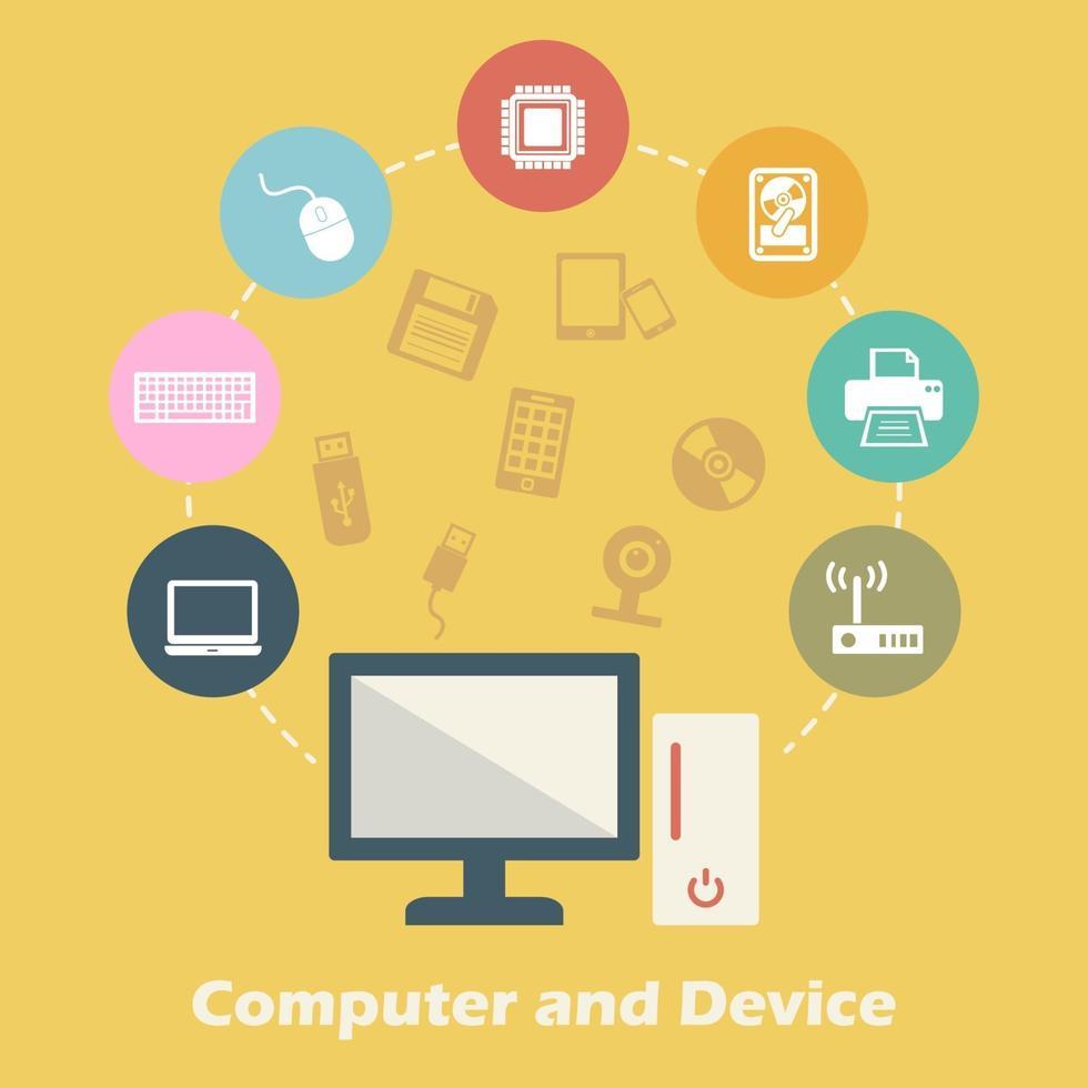 concepto de computadora y dispositivo vector
