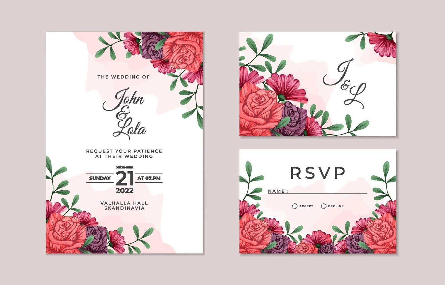 Beautiful Floral Wedding Invitation Card Collection vector