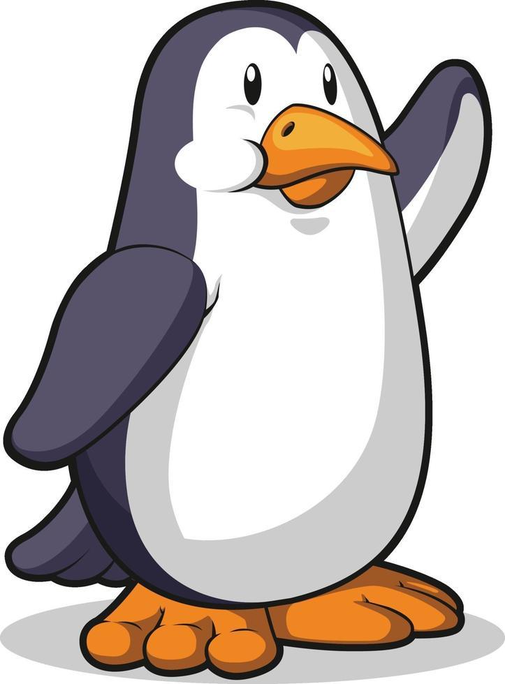 hola pingüino saludando a mano saludo ilustración de dibujos animados dibujo vectorial vector