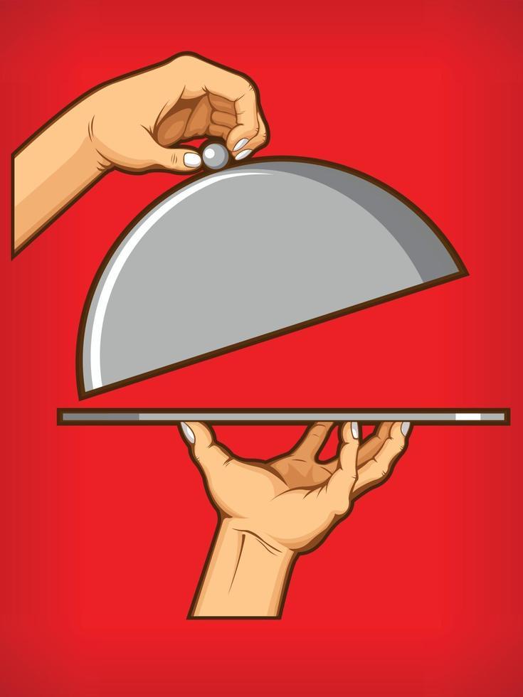 Hands Opening Food Tray Diner Restauran Symbol Cartoon Drawing vector
