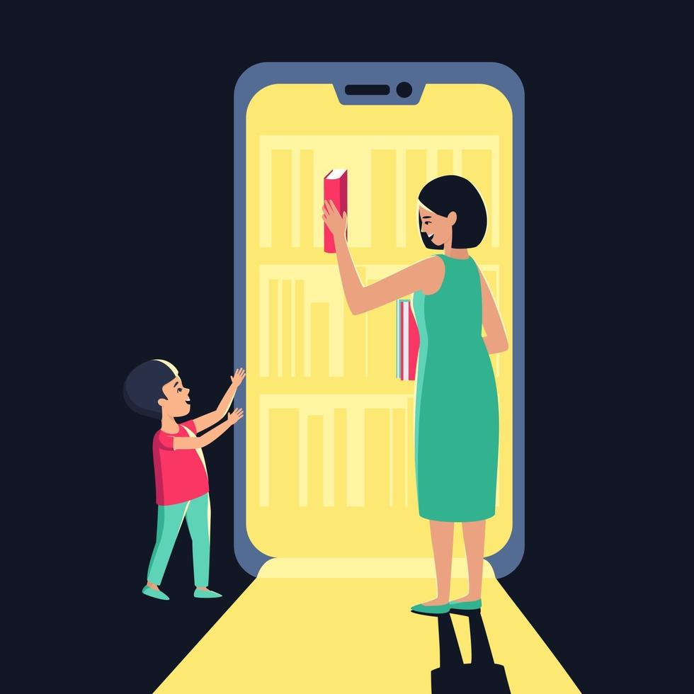 Mom and son choose a book from an electronic store or library vector