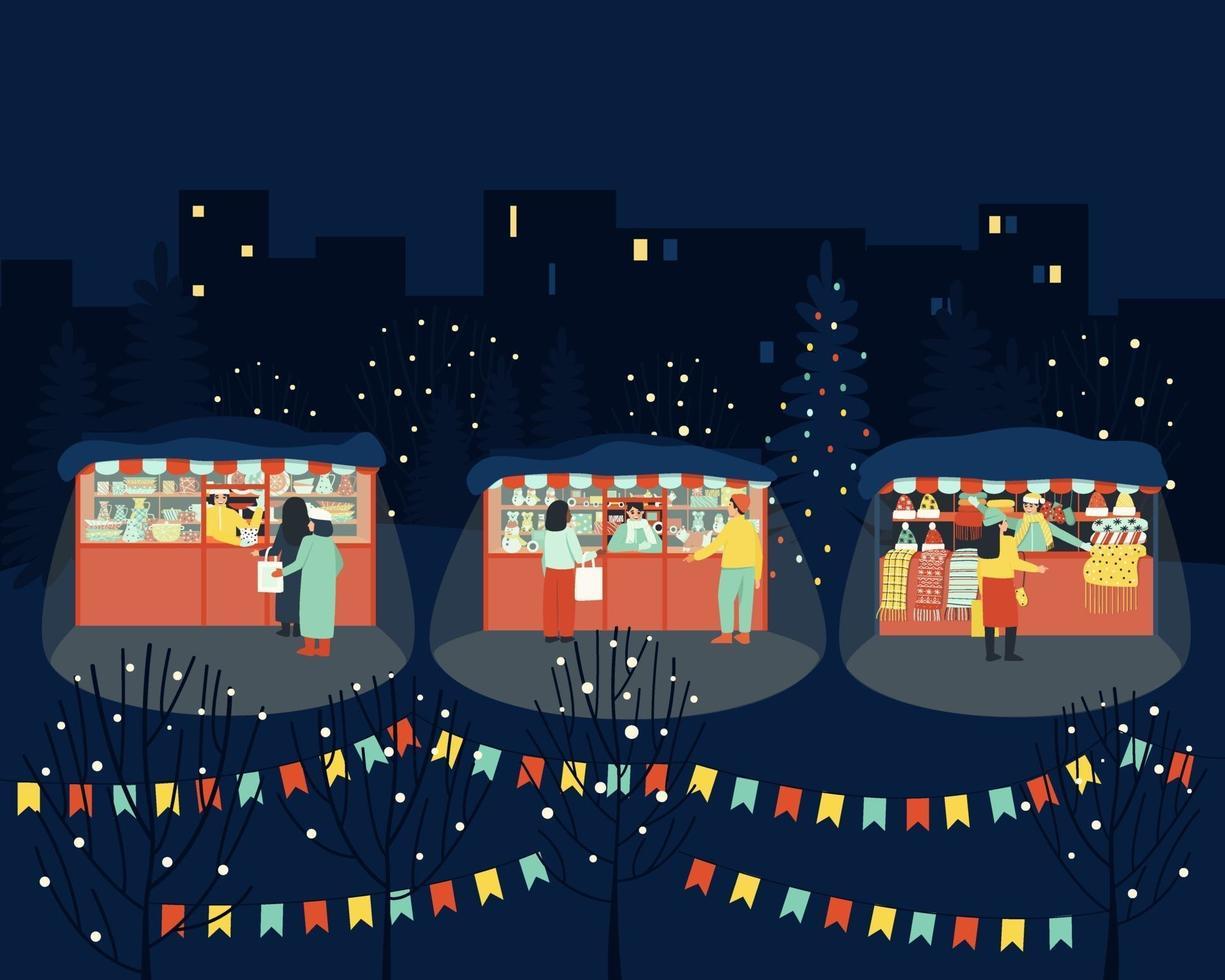Merry winter market in the evening vector